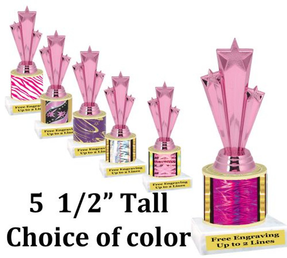 """5  1/2"""" tall trophy with choice of color.  Great for side awards and participation.  (134-h)"""