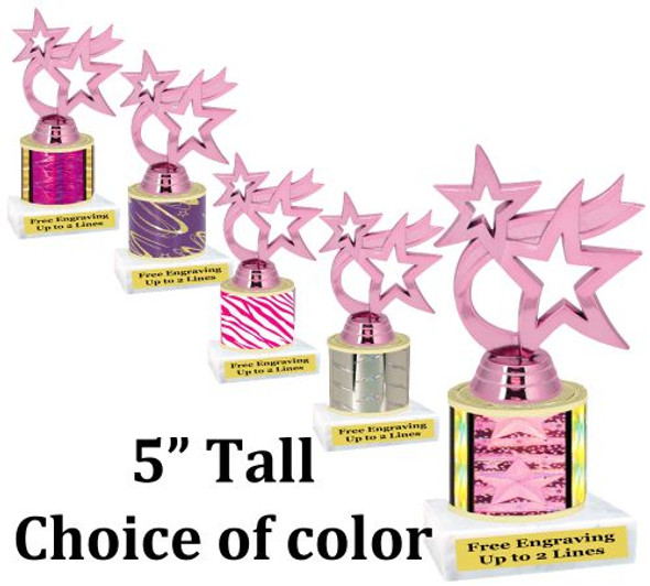 """5"""" tall trophy with choice of color.  Great for side awards and participation.  (190-h)"""