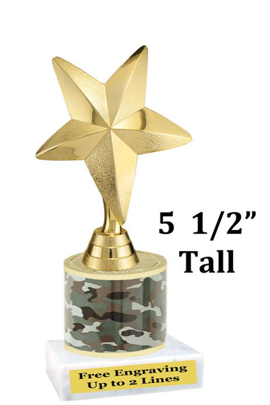 """5  1/2"""" tall trophy with choice of color.  Great for side awards and participation.  (9704)"""