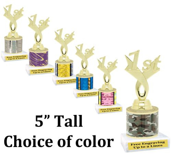 """5"""" tall trophy with choice of color.  Great for side awards and participation.  (163g)"""