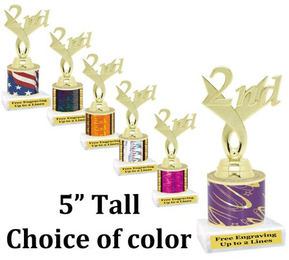 """5"""" tall trophy with choice of color.  Great for side awards and participation.  (164g)"""
