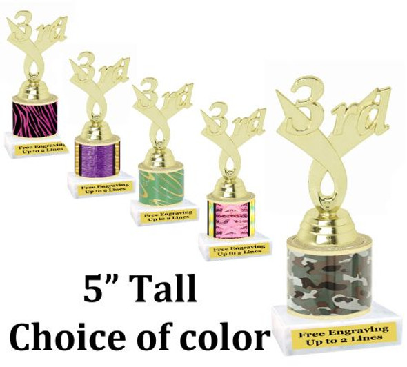 """5"""" tall trophy with choice of color.  Great for side awards and participation.  (165g)"""