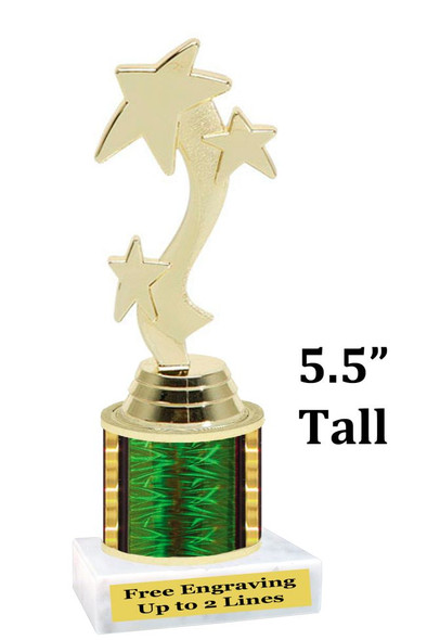 """5  1/2"""" tall trophy with choice of color.  Great for side awards and participation.  (180g)"""