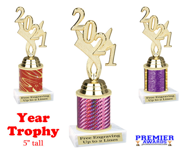 """Current Year gold figure.   5 """" tall trophy with choice of color.  Great for side awards and participation.  (12917g)"""