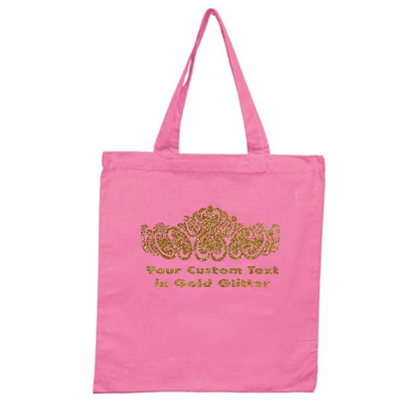 Customizable Glitter Crown Tote Bag.  Choice of bag color  (CR01)