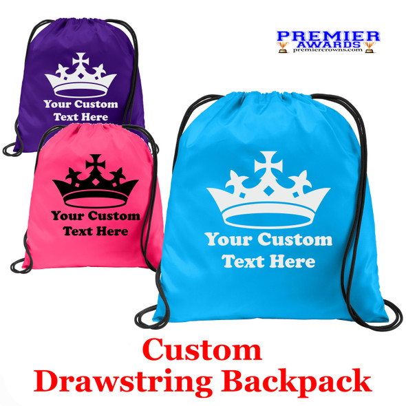 Customizable Cinch Backpack.  Great for awards, gifts and raffles.   (001)