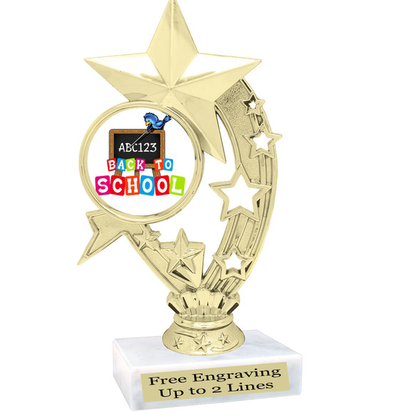 """6"""" tall  Back to School themed trophy.  9 Designs available. (h208"""