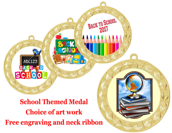 """Back to School Themed Medal.  2  3/4"""" diameter with choice of art work.  Includes free engraving and neck ribbon  (935)"""