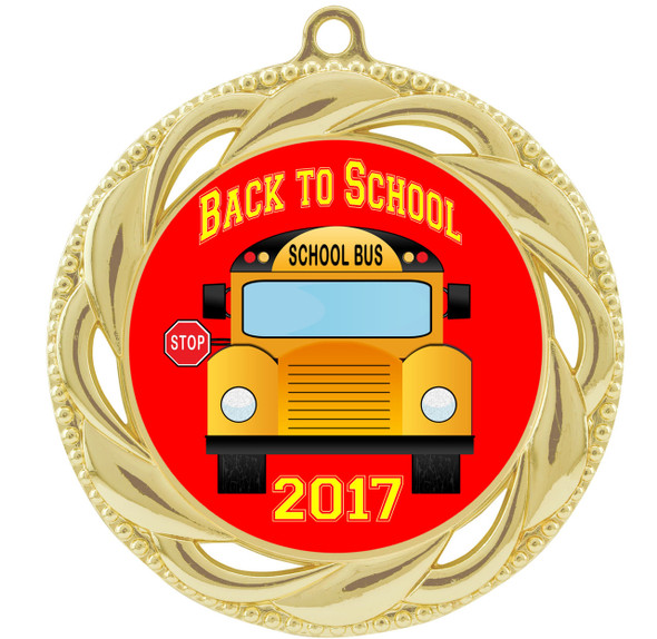 """Back to School Themed Medal.  2  3/4"""" diameter with choice of art work.  Includes free engraving and neck ribbon  (938"""
