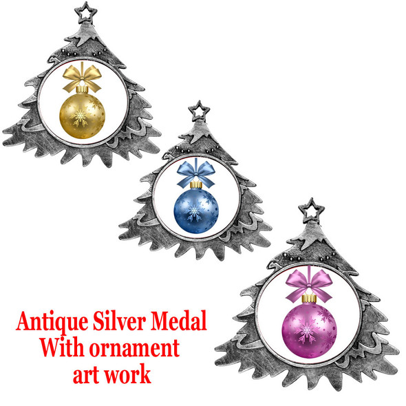 """Antique Silver Medal with ornament art work.  4"""" tall"""