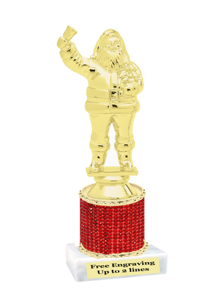 "6.5"" Santa trophy.  Gold santa on rhineston trophy.  (RHsanta1)"