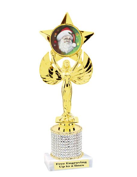"9.5"" Christmas theme trophy.  Gold star with santa insert and rhinestone column  (RHsanta4"