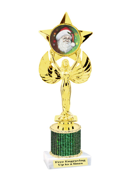 "9.5"" Christmas theme trophy.  Gold star with santa insert and rhinestone column  (RHsanta5"