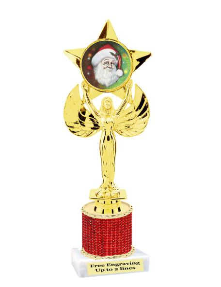 "9.5"" Christmas theme trophy.  Gold star with santa insert and rhinestone column  (RHsanta6"