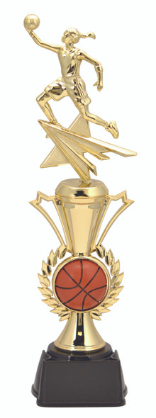 """Radiance Trophy with Basketball Female figure  14"""" tall"""