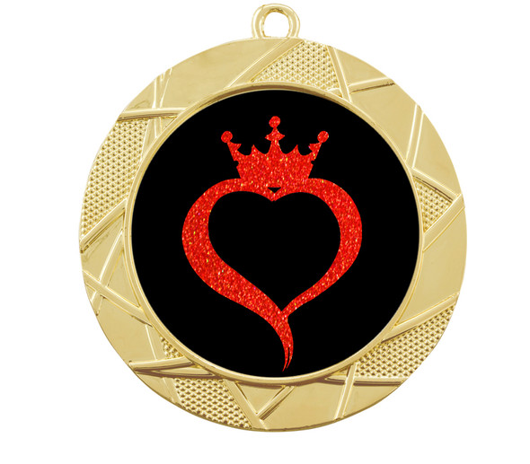 Glitter heart with crown insert medal.  Choice of 27 colors.  (940)
