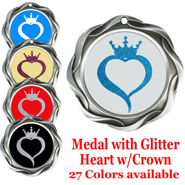 Glitter heart with crown insert medal.  Choice of 27 colors.  Silver medal  43573