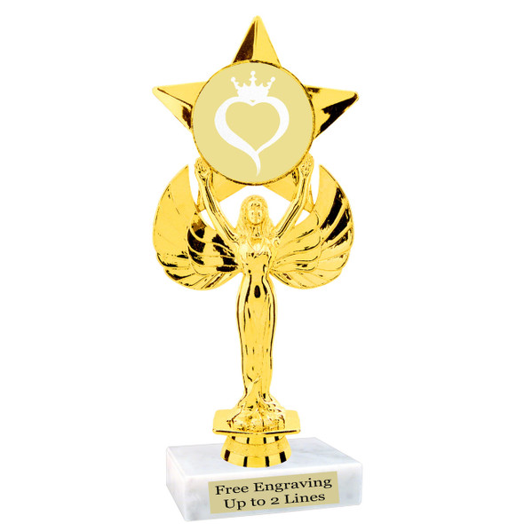 Glitter heart with crown insert trophy.  Choice of 27 insert colors.