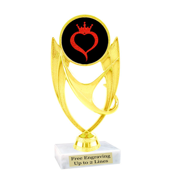 Glitter heart with crown insert trophy.  Choice of 27 insert colors.  (ph28)