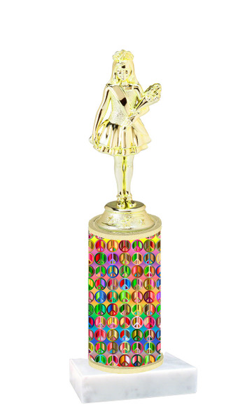 Peace sign trophy with choice of trophy height and figure