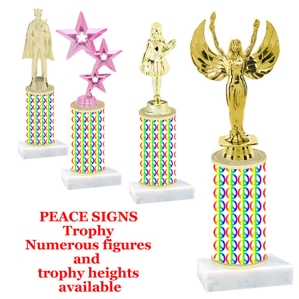 Peace sign trophy with choice of trophy height and figure (001)