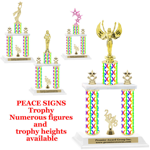 Peace Sign 2-Column trophy.  Numerous trophy heights and figures available  (001)