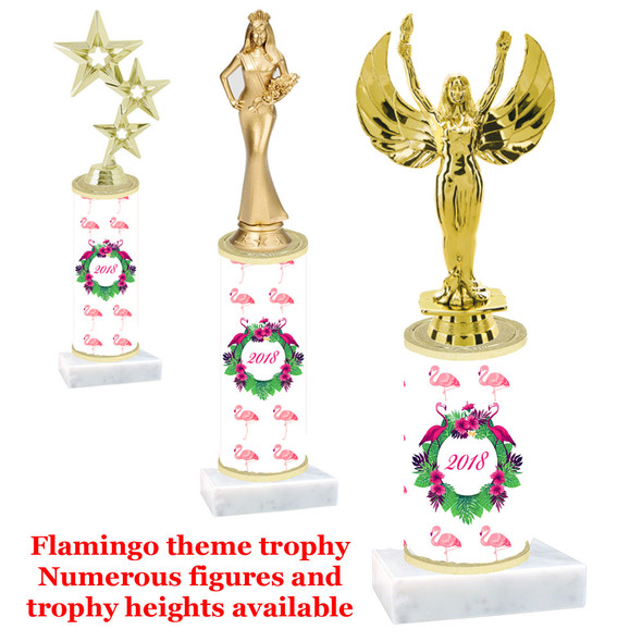 Flamingo  trophy with choice of trophy height and figure (001)