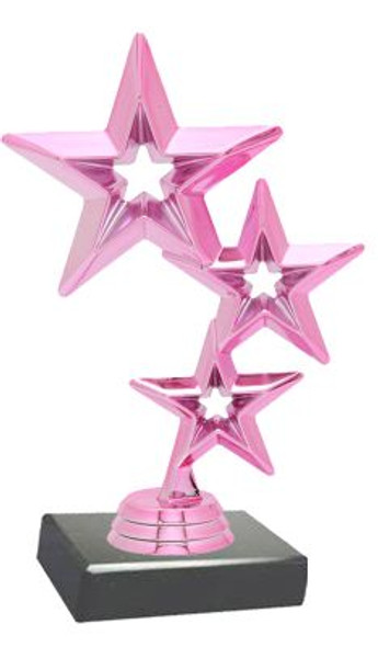 """6""""  Pink Triple Star Trophy with choice of base (TR-PTS100)"""