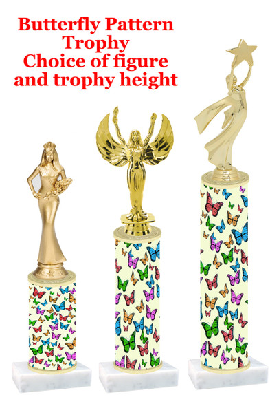 Butterfly pattern  trophy with choice of trophy height and figure (001)