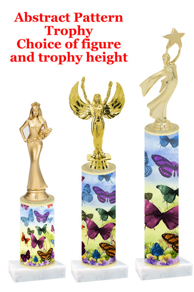 Butterfly pattern  trophy with choice of trophy height and figure (002)