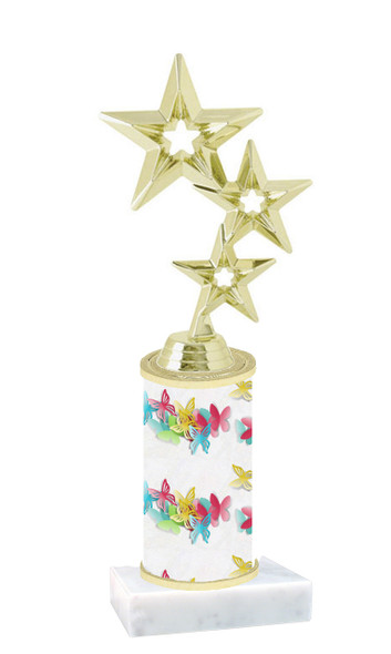 Butterfly pattern  trophy with choice of trophy height and figure (003)