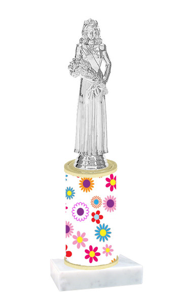 Flower pattern  trophy with choice of trophy height and figure (001)