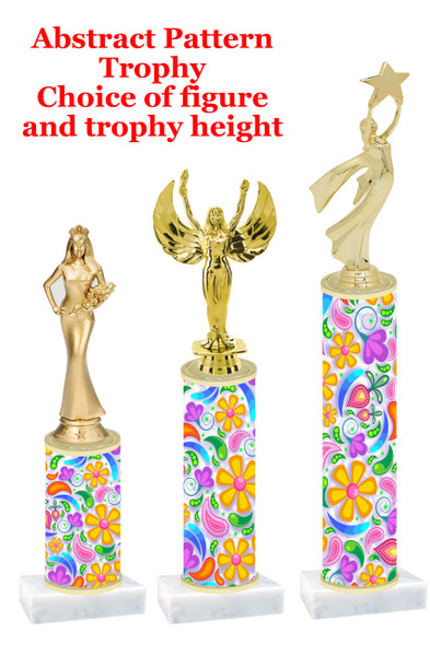 Abstract  Flower pattern  trophy with choice of trophy height and figure (002)