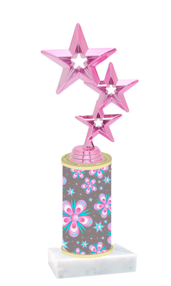 Flowers  pattern  trophy with choice of trophy height and figure (004)