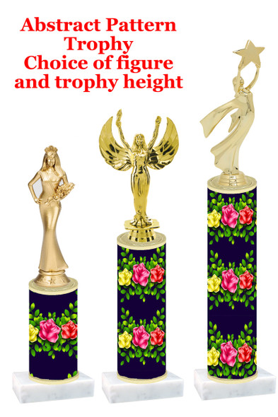 Flowers  pattern  trophy with choice of trophy height and figure (005)