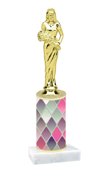 Pink Abstract  pattern  trophy with choice of trophy height and figure (007)