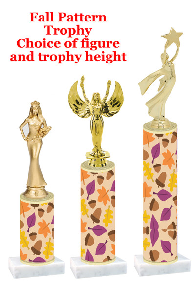 Fall  pattern  trophy with choice of trophy height and figure (010