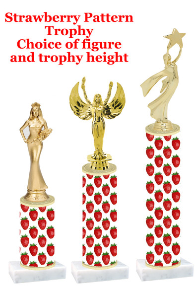 Strawberry  pattern  trophy with choice of trophy height and figure (014