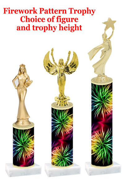 Firework  pattern  trophy with choice of trophy height and figure (022