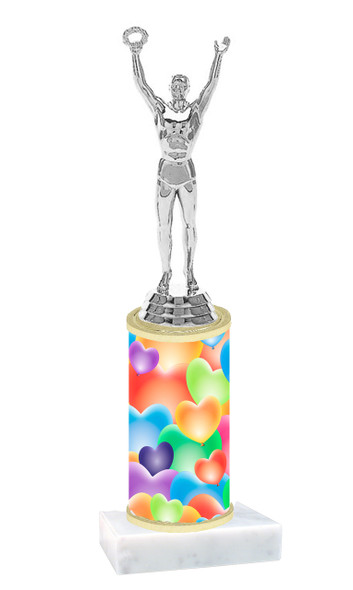 Heart Balloons  pattern  trophy with choice of trophy height and figure (026