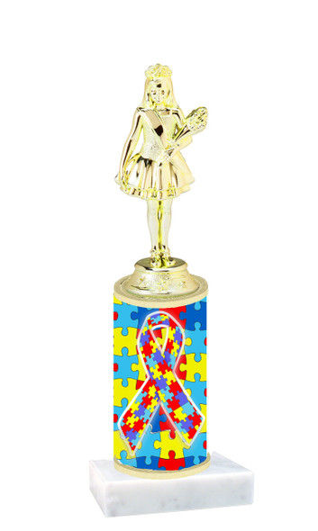 Autism  pattern  trophy with choice of trophy height and figure (030