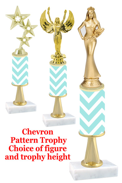 Chevron  pattern  trophy with choice of trophy height and figure (030stem