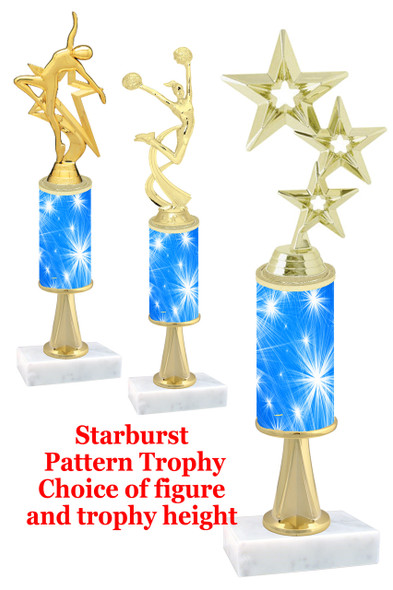 Starburst  pattern  trophy with choice of trophy height and figure (034stem