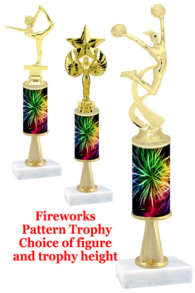 Fireworks  pattern  trophy with choice of trophy height and figure (035stem