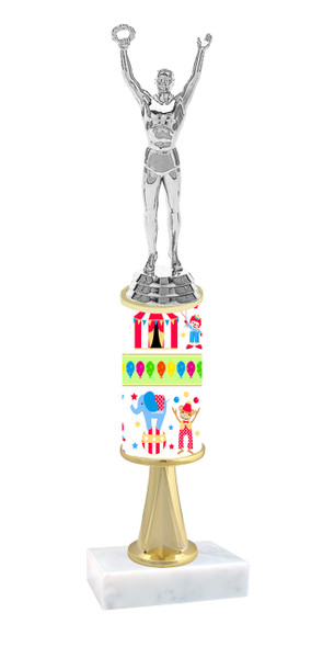 Circus  pattern  trophy with choice of trophy height and figure (036stem
