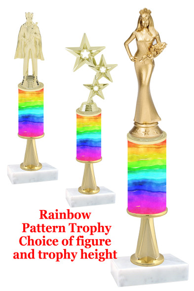Rainbow  pattern  trophy with choice of trophy height and figure (043stem