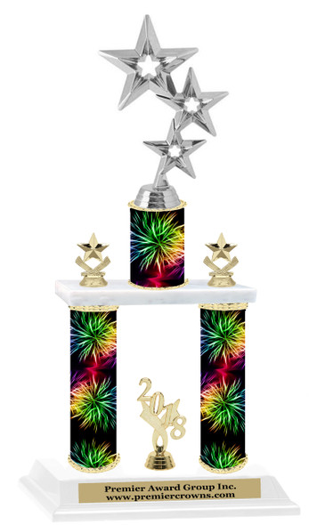 Fireworks theme  2-Column trophy.  Numerous trophy heights and figures available  (005
