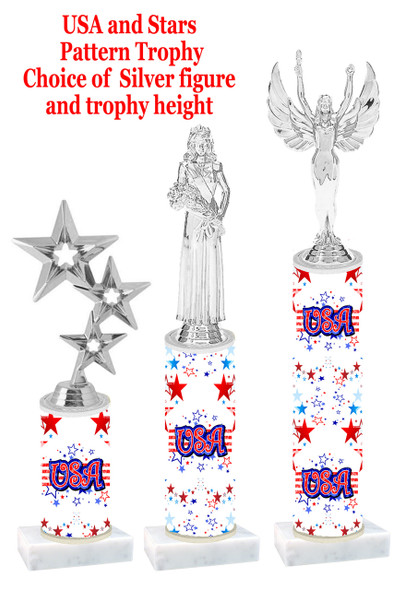 USA theme trophy with silver figure.  Numerous trophy heights and choice of silver figure.