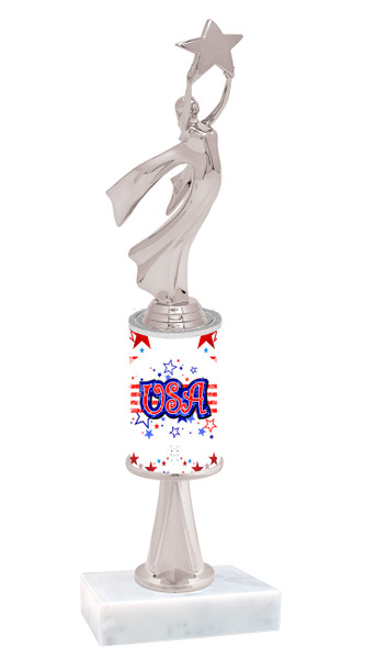 """USA Patriotic theme trophy with Silver Modern Victory figure.  Trophy height starts at 10"""" tall"""