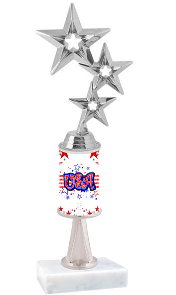 """USA Patriotic theme trophy with Silver 3-Stars figure.  Trophy height starts at 10"""" tall"""